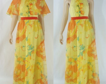 SALE Vintage Seventies Dress - 1970s Yellow Halter Dress - 70s Floral Maxi Dress - Halter Maxi Dress - XS