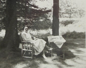 French Vintage Summer Photo - Woman Sitting in the Shade