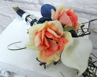 Bridesmaid bouquet Wedding Bouquet, Coral Navy and White silk wedding flowers