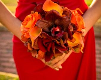 Fall wedding bouquet - Autumn Bridesmaid bouquet, Red orange orchids calla lilies, Silk wedding flowers