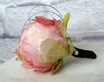 Pink peony bud boutonniere Groom groomsmen silk wedding boutonnieres