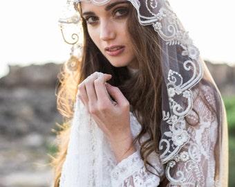Wedding Veil,Bridal Veil,Tulle Veil,Crystal Veil,Embroidered Veil, Elbow Veil, Ivory Heirloom Veil, Beaded Veil - Style 001