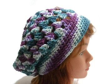 Cotton Summer Tam, Ombre Beach Hat, Granny Square Hat, Cotton Summer Hat, Purple Ombre Hat, Cotton Tam Hat, Summer Hats for Women
