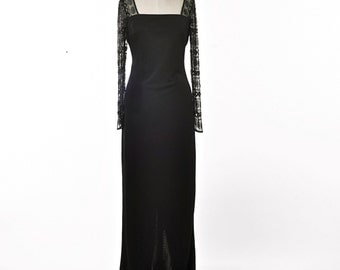 80's Black EveningDress Full Length Stenay Form Fitted Sheer sleeves Size 8