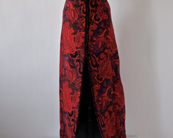 60's Red Paisley Maxi Skirt Slit Front Size Small The Villager