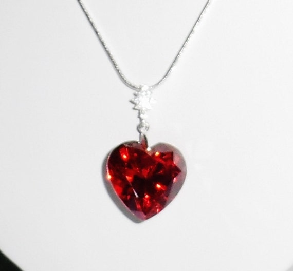 """48 ct January Heart cut Red Garnet stone, solid sterling silver bail, 20"""" snake chain"""