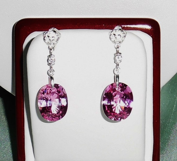30 cts Natural Pink Sapphire gemstones, sterling silver Post Pierced Earrings