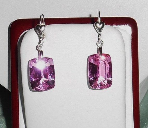 28 cts Cushion Pink Sapphire gemstones, Sterling Silver Heart leverback Pierced Earrings