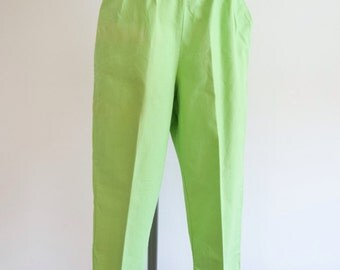 1960s Lime green Lee Cooper tapered leg jeans / 60s fitted cigarette pants - XXS XS