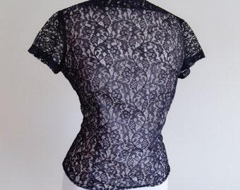 1950s Illusion black lace slash neck blouse / 50s evening top - M L