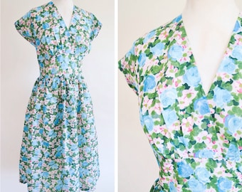 1950s Green floral nylon day dress / 50s printed gathered skirt St Michael dress - S M