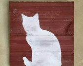 Rustic Barn Wood Wall Decor  • Cat Silhouette Wall Art • Feline Wooden Chalk Paint Wall Hanging - Made to Order