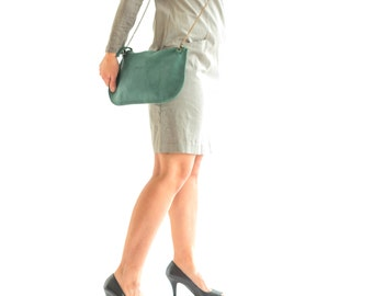 Green crossbody Leather Bag, Soft Leather Clutch, leather Purse in green,  Women purse bag, women Crossbody Bag, women leather clutch