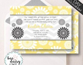 Daisy Invitation - Daisy Party Invitation - Daisy Birthday Invitation - Daisy Baby Shower - Printable Daisy Invite BeeAndDaisy