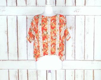 Vintage orange Hawaiian batik floral crop top/tribal print short sleeve pullover blouse