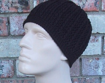Beanie in Black - Mens Hat Size Medium/Large - Hand Crocheted - Soft Acrylic Yarn - Handmade - Warm Winter Cap - Nice Father's Day Gift
