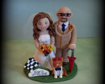 Wedding Cake Topper, Custom Wedding Topper, Bride and Groom, Pet, Personalized, Sports Theme, Polymer Clay, Keepsake