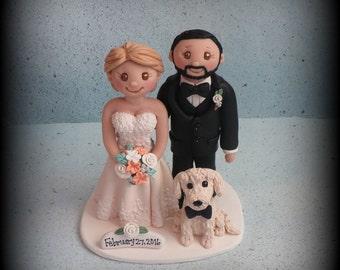 Wedding Cake Topper, Custom Wedding Topper, Bride, Groom and Dog, Anniversary Cake Topper, Personalized, Polymer Clay, Keepsake