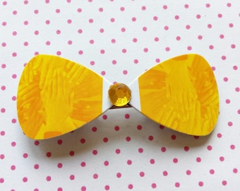 Sunny yellow bow hairclip made of recycled credit card great gift eco friendly - free shipping