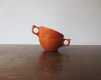Pair of 60s Branchell K. LaMoyne Melmac Teacups, Coffee Cups