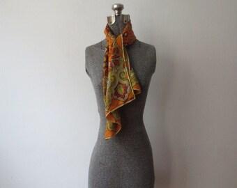 60s Silk Vera Neumann Ladybug Orange Indian Style Design Long Scarf