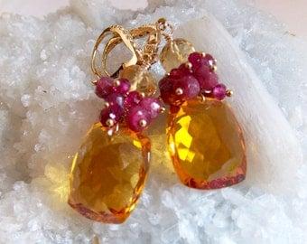 Citrine and Ruby Gemstone Earrings Ruby Cluster Earrings Gift for Her Luxury Gemstone Earrings