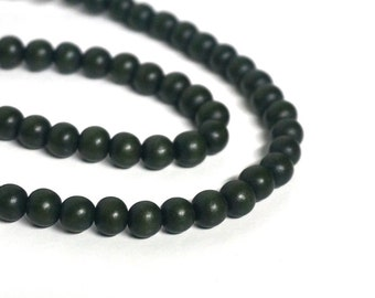 Dark Forest Green round wood beads, 8mm, eco-friendly wooden beads (804R)