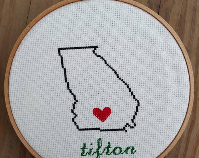 "Hometown Customized Cross Stitch 6"" hoop or bigger Wall Art Ornament"