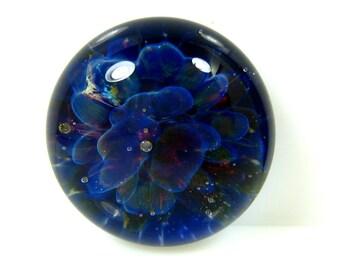 18mm Lampwork Cabochon - Purple Floral Design- Jewelry Making Supply - Handmade Bezel Cab