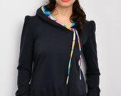 dark blue hoodie sweater - retro dots