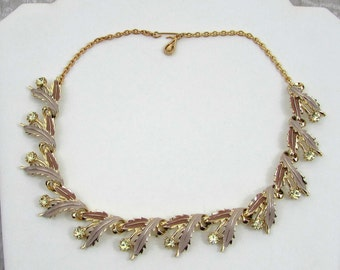 "Lavender & Rose Enamel Leaf Necklace, clear rhinestones  - 16"" choker - 1950s-60s"