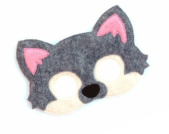 Kids Grey Wolf Mask Wolf Costume Dog Felt Mask Kids Face Mask Animal Mask Halloween Costume Pretend Play Dress Up Party Favors