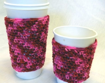 Venti Coffee Sleeve Makes a Cozy 20 Ounce Cover in Multi Pink fits Starbucks Coffee Cups, Hot or Cold Coffee Cups, Tea Cup, Mug Sweater
