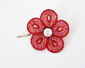French Beaded Flower bobby pin, red floral hair clip, teen girls accessory, women's barrette, hair flower jewel