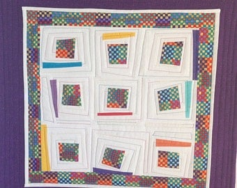 Modern Quilt, Log Cabin Quilt Square, Mini Quilt, Wonky Log Cabin, Wall Hanging, Modern Quilt Primary Colors, Quiltsy Handmade