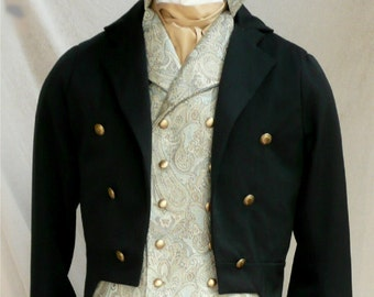Mans English Regency Wool and Velvet Tailcoat Groom's Wedding Tux French Empire Formal Eveningwear Art Deco Tailcoat