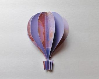 """3d Hot Air Balloon 5""""  -   lavender, peach, purple, orange brown"""