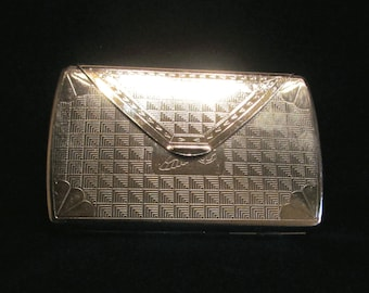 Vintage Cigarette Case Chrome Ladies Envelope Purse Mirrored Case Fits 100's Business or Credit Cards Excellent Condition