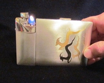 Vintage Lite-O-Matic Gazelle Cigarette Case 1940's Elgin American Original Box Stunning Working Case Lighter RARE