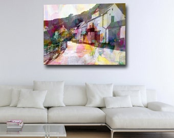 Staithes Canvas Print, Staithes Giclee Print, Large Canvas Art, Modern Abstract Landscape Print, Seaside Print, North Yorkshire