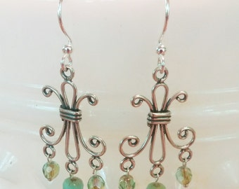 Silver, Turquoise and Green Scroll Chandelier Earrings