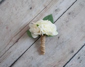 Ivory Rose and Hydrangea Wedding Boutonniere with Burlap