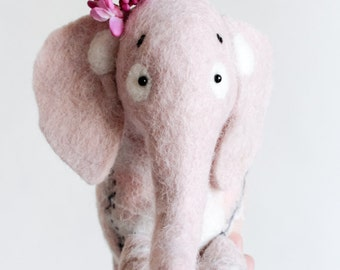 Waldorf  toy. Aurelia - Felt Elephant. Art Toy. Felt toy. Felted Animals. Softie Plush Toy Stuffed Toy dusty light pink. Made to order.