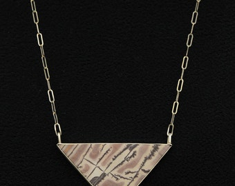 Sterling Silver and Sonora Dendrite Jasper Stone Necklace