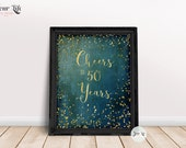 Cheers to 50 years, Printable 50th Birthday Decor, Cheers to 50 years Birthday-Anniversary Sign, 50th Birthday Party Decorations, 8x10&16x20
