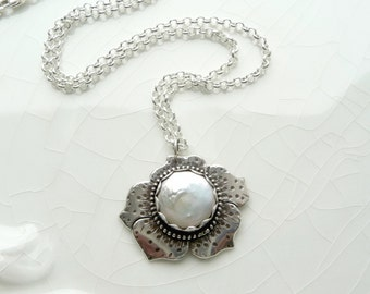 SALE - Coin Pearl Poppy Necklace - June Birthstone, .925 Sterling Silver Pendant, One of a Kind, Gift with Chain and Pearl Charm