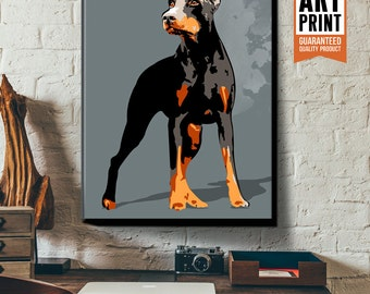 Doberman Pinscher, Dog, Art Print, Illustration, Poster size, Canvas Art print, Dog Decor, Pet Artwork available in 18x24 or 24x36.