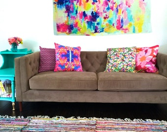 Bright Neon Colors Abstract Art Painting Wall Tapestry Colorful BOHO  Bohemian Inspired Home Decor Fabric Wall