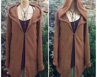 Honeycomb Knit Jacket, Hooded Cardigan