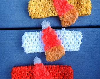 Candy Corn Shabby on Crochet Hair Headband